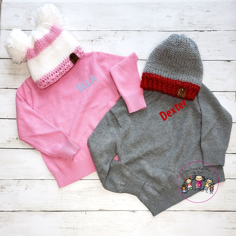 Baby Sweaters Toddler Personalize Sweater Girls Personalize Sweater Boys Custom Sweater Kids Embroidered Sweater Girls Pink Sweater