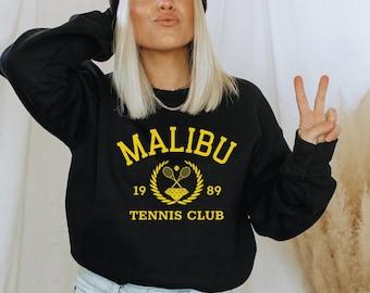 Malibu Sweatshirt Green  Malibu Crewneck  Malibu Shirt  Teen Girl Gifts  Malibu Tennis Club  Trendy Crewneck  Trendy Sweatshirt 90s Crewneck