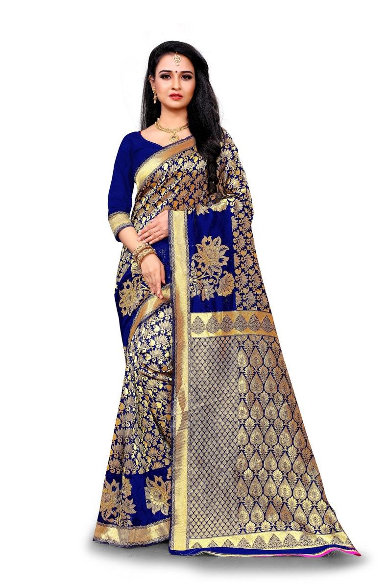 Women/'s Designer Jhaad Multi Color Resham Banarasi Golden Jari Jacquard Saree With Heavy Jacquard Blouse Piece