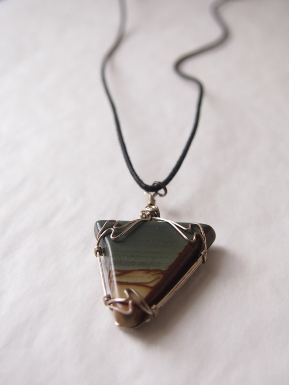 Double sided. Wire Wrapped Pendant with Jasper Stone