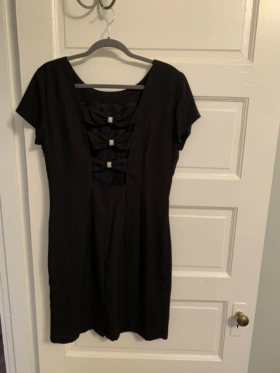 Vintage Datiani Black Cocktail Dress Deep V Back C
