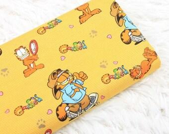 Garfield Cat Fabric, Orange Cat Kitty Cartoon Character Fabric, 100% Cotton Fabric, By The Half Yard