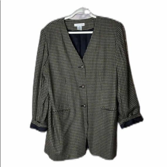 Chaus Oversized Plaid Design Blazer 16