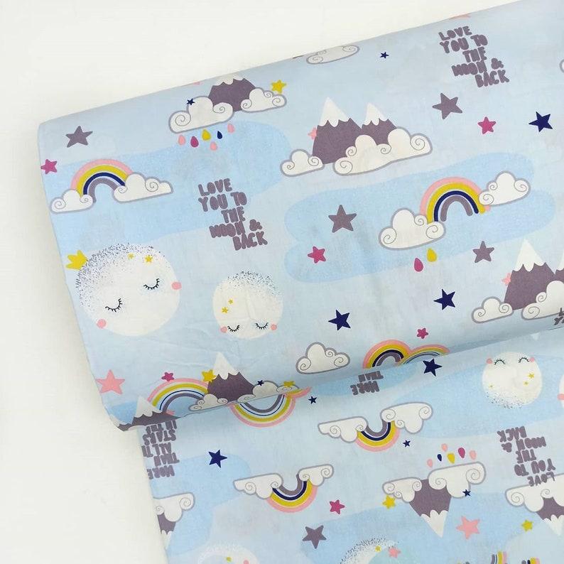 Star fabric moon fabric rainbow fabric space fabric by the yard 100/% cotton fabric KID FABRIC for girl  boy