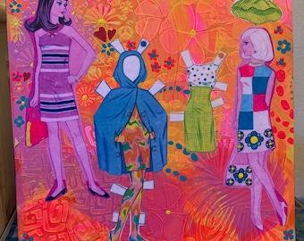 Francie And Casey Paper Dolls 3 Mixed Media Art Handmade Decorative Wall Hanging