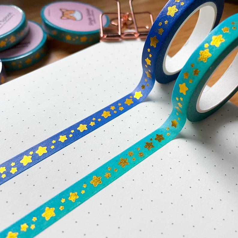 Bullet Journal Notebook Penpal Gold Foiled Star Washi Tape Kawaii Decorative Tape 8mm Tape