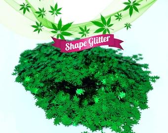 Green Cannabis Leaf Shape Glitter, Solvent Resistant, Hemp Pot Leaf Forest Green Shape Glitter Sequins Rave Party Marijuana Weed Glitter