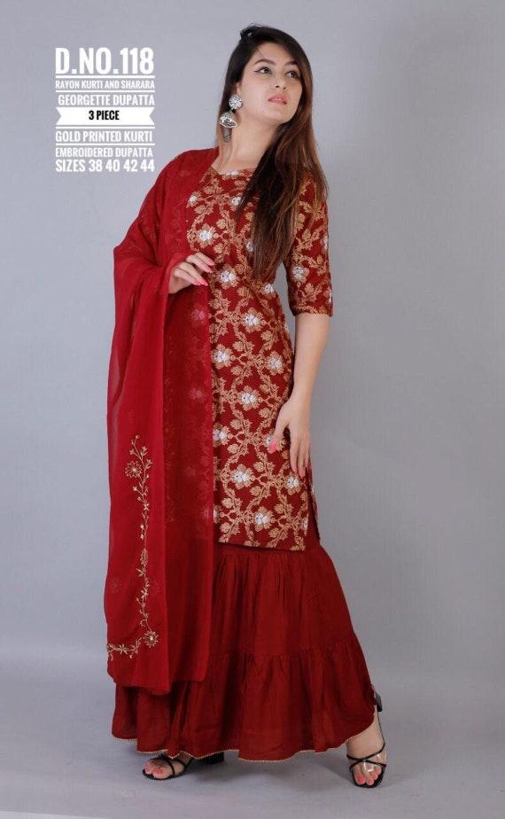Designer Golden Zari Embroidery Kurti With Pant For Women And Grils  Designer Dresses  Designer Kurti Set  Kurti Dupatta Set