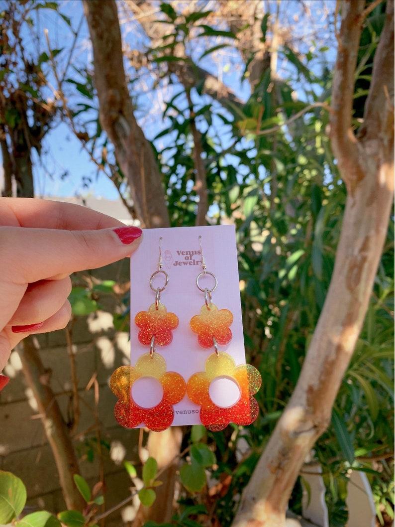 Daisy Shaped Earrings Red Orange Yellow Flower Shaped Groovy Retro earrings Ombr\u00e9 Flower Earrings