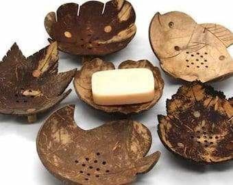 Handmade Soap tray Ceylon Natural Coconut Shell Dish Holder Wooden Bowl
