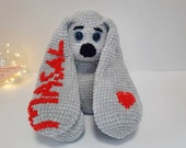 Personalized crochet toy. Gray bunny with personalized embroidery. Individual toy. Personal gift.