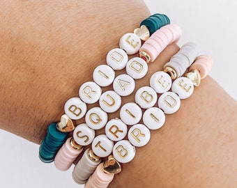 Custom Name Bracelet / Matching Beaded Bracelet / Candy Personalized Bracelets / Colorful Flat Beads bracelet / Bachelorette Gift