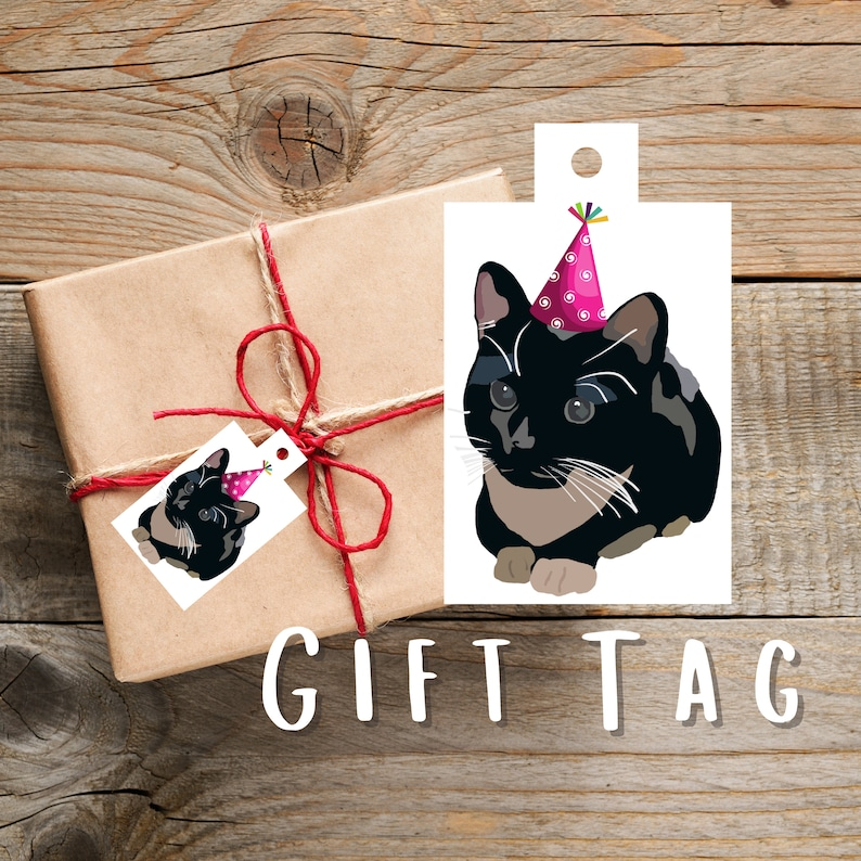 Tuxedo Cat Gift Tags Cat Themed Gift Present Tags Parcel Tags Cat Illustration