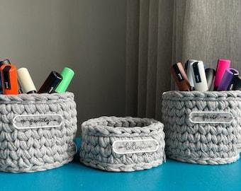 Crochet pen holder with motivational labels-Crochet organizers-Clip holder-Desk and office storage-Office supplies organization-Office decor