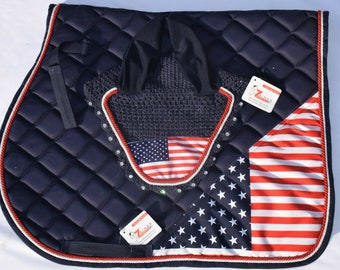 ZAINEE US USA AMERICAN FLAG JULY 4TH HORSE EAR BONNET FLY VEIL HOOD EQUESTRIAN