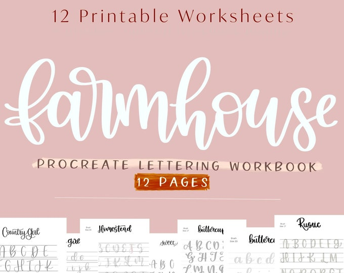 Farmhouse Procreate Digital Lettering Workbook, 12 Worksheets with 6 Uppercase and Lowercase Practice Lettering Worksheets, Textured