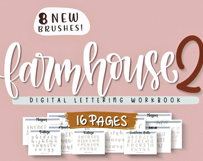 Procreate Lettering Brushes and Workbook, Brushes Practice Worksheets, Textured Procreate  brushes, Instant Download, Printable Worksheets