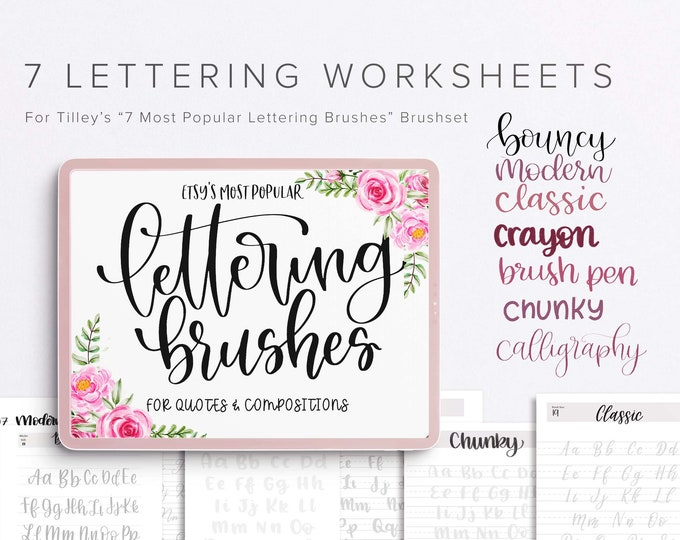 5 iPad Lettering Worksheets | Lettering Practice, Printable, Practice Handwriting, iPad Calligraphy Printable Worksheets & Practice