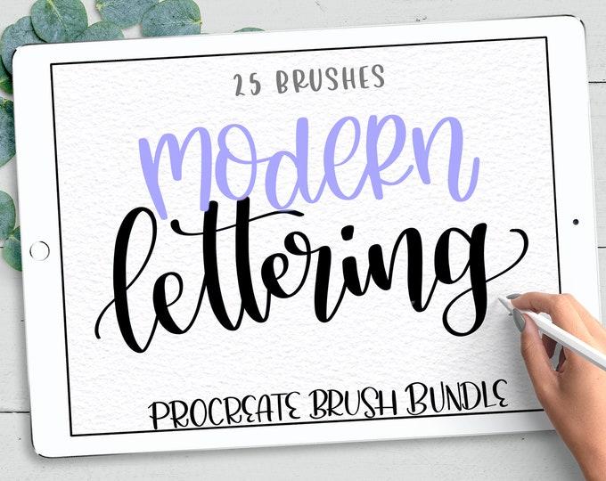 25 Procreate Lettering Brushes, Procreate Brushes, Calligraphy Brushes Procreate, Textured Brush Procreate, Watercolor Procreate Brush Pack