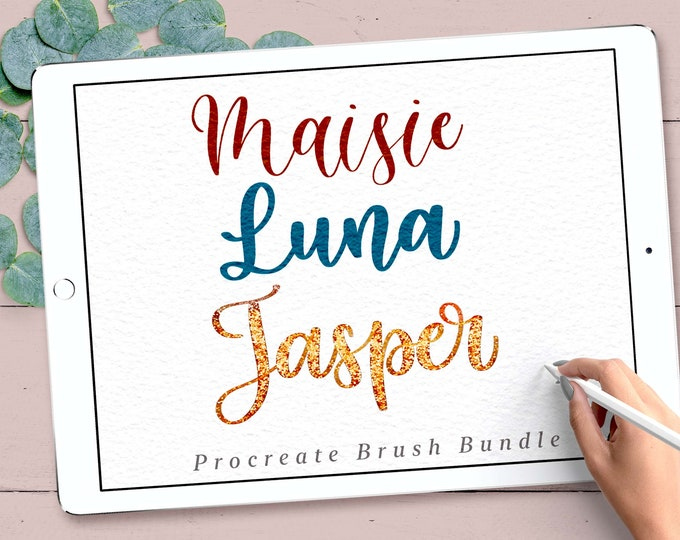 3 Procreate Brushes Lettering Bundle, Procreate Lettering Brushes, Procreate Calligraphy Brushes, iPad Lettering Brushes, Hand Lettering