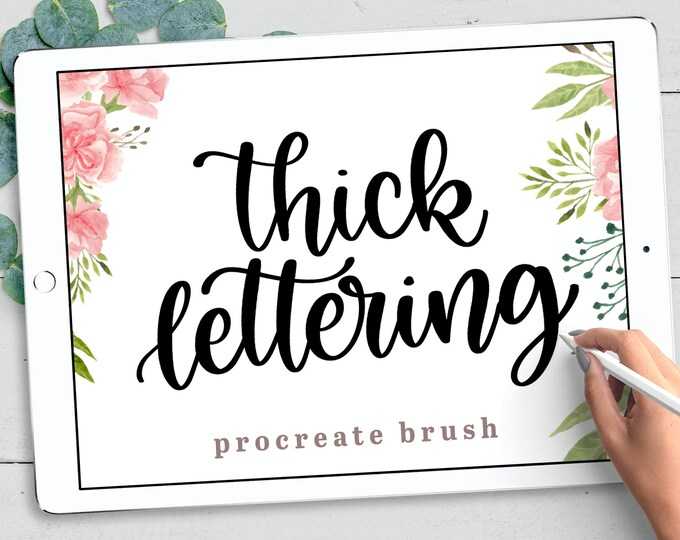Thick Procreate Lettering Brush, Textured Calligraphy Procreate, iPad Lettering Brush, INSTANT DOWNLOAD