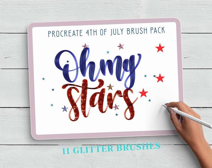 4th of July Procreate Brushes, Procreate Glitter Brushes, American Flag Procreate Brush, Firework Procreate Brush