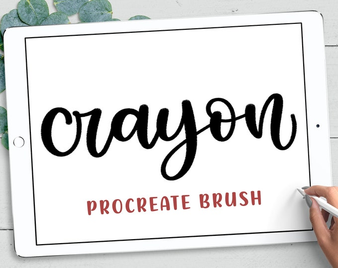 Crayon Texture Procreate Lettering Brush, Textured Procreate Calligraphy, iPad Lettering Brush, INSTANT DOWNLOAD