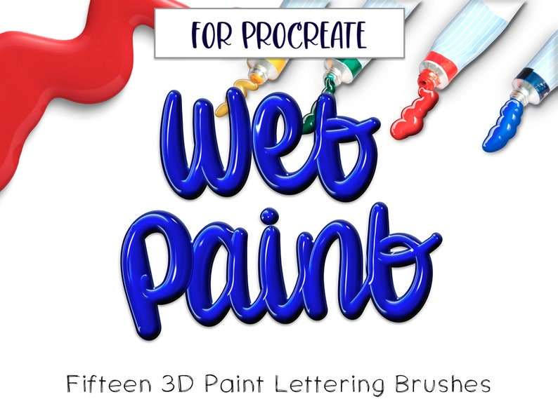 15 Lettering Procreate Brushes   3D Acrylic Procreate iPad image 0