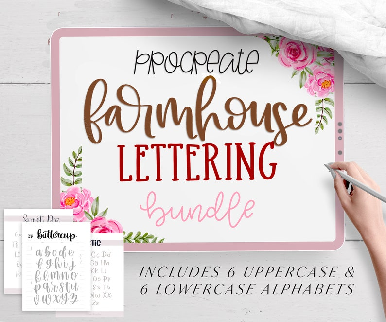 6 Procreate Lettering Brushes and 6 Lettering Worksheets  image 0