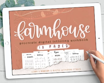 6 Procreate Brushes and Lettering Worksheets, Farmhouse Modern Lettering Worksheets & Practice Calligraphy Printable Worksheets