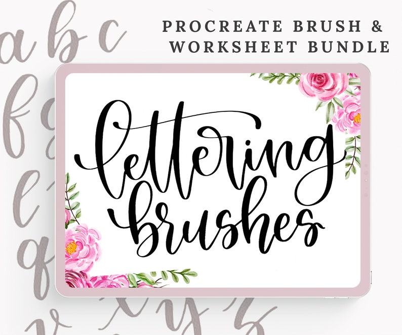 7 Procreate Lettering Brushes with 7 Practice  Worksheets  image 0
