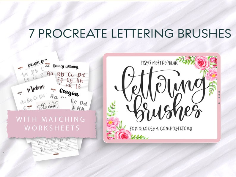7 Best Procreate Brushes with 5 Lettering Worksheets  iPad image 0