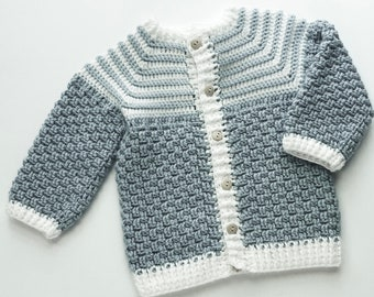 Digital PDF Crochet Pattern: Crochet Cardigan Sweater for boys and girls pattern with follow along video tutorial by Crochet for Baby