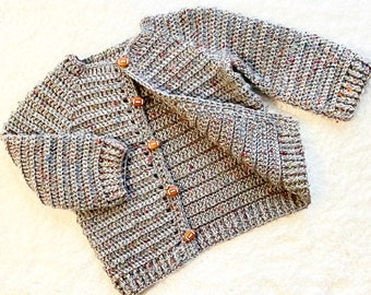 Digital PDF Crochet Pattern: Easy Crochet Cardigan Sweater for boys and girls with follow along video tutorial, Crochet for Baby patterns
