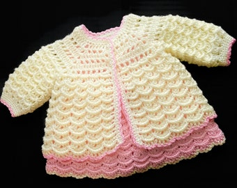 Digital PDF Crochet Pattern: Crochet baby cardigan sweater, coat or jacket for girls with follow along video tutorial, Crochet for baby