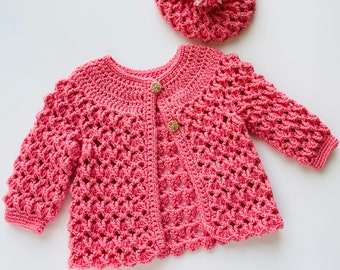 Digital PDF Crochet Pattern: Crochet Jacket or Coat sweater for girls and matching hat with follow along video tutorial