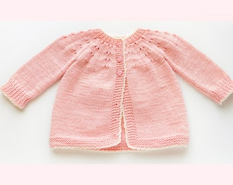Digital PDF Knit Pattern: Easy Knit Baby Cardigan Sweater, coat or jacket with follow along video tutorial, Knitting for Baby