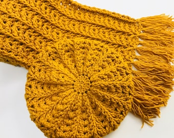 Digital PDF Crochet Pattern: Fern Stitch Crochet Hat and Scarf for adults with follow along video tutorial, Crochet for Baby