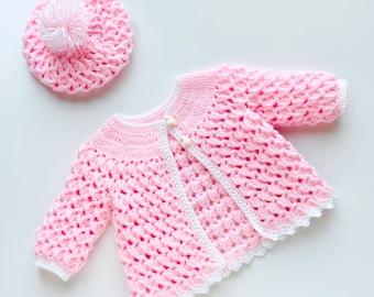 Digital PDF Crochet Pattern: Crochet baby Jacket with matching hat set 3-6M