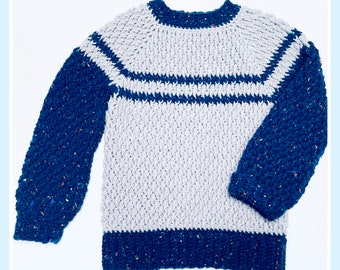Digital PDF Crochet Pattern: Alpine Stitch Crochet sweater for boys and girls pattern with follow along video tutorial by Crochet for Baby