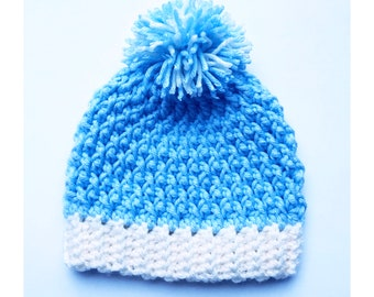 Digital PDF Crochet Pattern: Alpine Stitch Crochet Baby Hat PATTERN 0 to 3M with Follow along video tutorial, Crochet for baby patterns