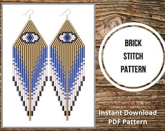 Evil eye earrings brick stitch pattern weird earrings seed bead fringe cool earrings PDF pattern