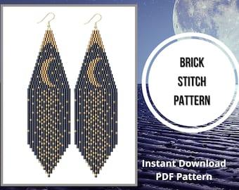 Moon phase seed bead earrings pattern brick stitch fringe native earring PDF pattern