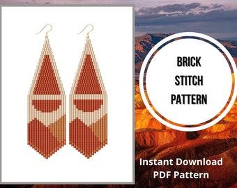 Seed bead patterns sunset earrings brick stitch mountain sunrise fringe earring PDF pattern