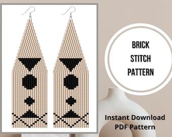 Seed bead patterns geometric fringe beaded earrings brick stitch minimalist earring PDF pattern