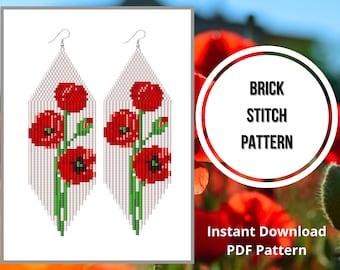 Red flower earring pattern brick stitch fringe earring pattern Beaded Red flower blossom wildflowers brick stitch