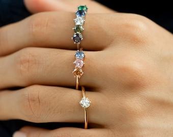 Elegant Birthstone Ring • Sterling Silver Multi-Stone Ring • Family Birthstone Ring • Personalized Birthstone Ring • Mother's Day Gift