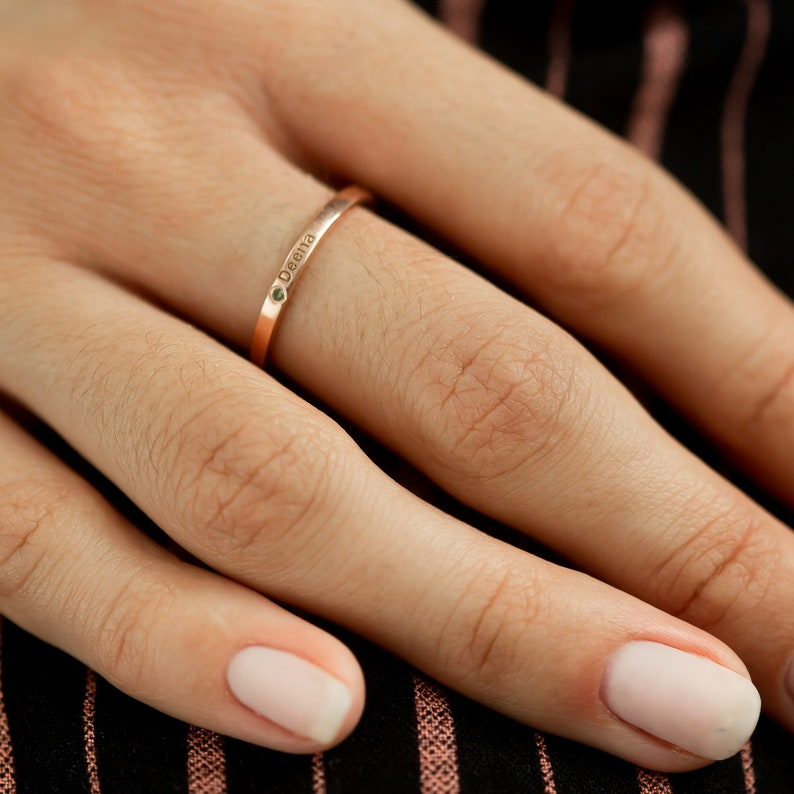 White and Rose Gold 14K Stackable Birthstone Ring with Engraving \u2022 Name Engraved Dainty Birthstone Ring in Solid 14K Yellow