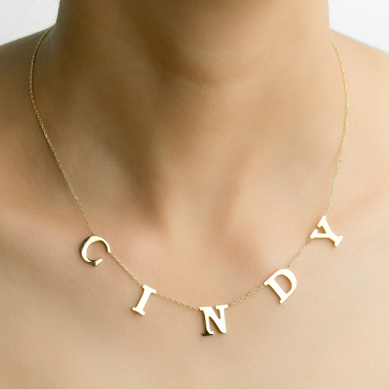 Spaced Letter Necklace \u2022 Sterling Silver Name Necklace \u2022 Personalized Women Initials \u2022 Custom Letter Kids Name Necklace \u2022 Customized Gift