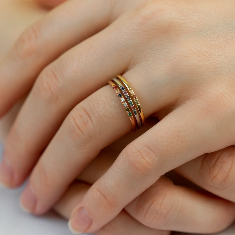 14K Dainty Birthstones Ring  Family Multi-Stone Ring  Custom image 0